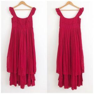 Miu Miu Sheer Red Sleeveless Mid Dress